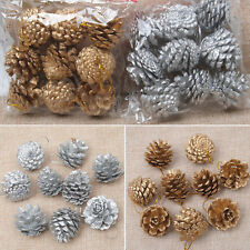 2packs Christmas Wood Pine Cones Baubles Xmas Tree Ornament Home Party Decor