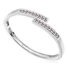 18K White Gold Plated  Bracelet Bangle made with Swarovski Crystal  Elements.