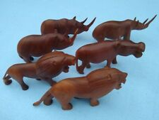 Lot of 6 Hand-carved Wooden Figures Kenya Africa 1970s Lion Hippo Rhino Tribal