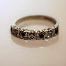 Vintage Sapphire and Diamond 9ct White gold Half Eternity ring size L ~ US 5 3/4