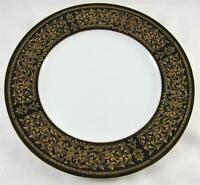 "Cordon Bleu EBONY 7136  Black Rim & Gold Design, Salad Plate, 7 3/4"""