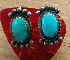 Vintage Sterling Silver Navajo Turquoise Stone Screw Back Earrings