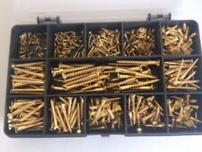 SOLID BRASS SLOTTED COUNTERSUNK WOOD SCREWS ASSORTED BOX 380 Pcs