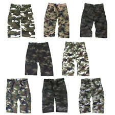 Mens Camo 3/4 Long Length Cargo Combat Shorts With Belt