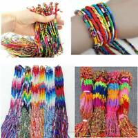 10x Handmade Colorful Thread Woven Friendship Cord Anklet Braid Bracelet Jewelry