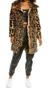 NWT AIR Jordan Womens Faux Fur Court-To-Runway Jacket Yellow Leopard SZ XS $300
