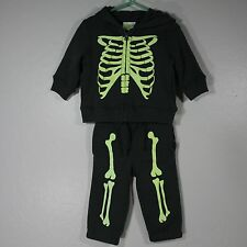 Infant Skeleton Halloween Gray Hoodie Jacket Pants Size 6-12 Mo Boy Crazy 8