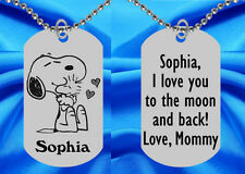 Snoopy Dog Tag Necklace for Kids, Personalized FREE with NAME!