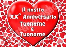 Cialda - Ostia per torte Anniversario Cuore Matrimonio 2 - personalizzabile!