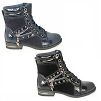 Womens Ladies Lace Up Stud Zip Low Heel Army Work Biker Ankle Boots Shoes Size