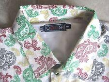 COOGI Fancy Paisley All Over White Cuff Collar Retro DRESS SHIRT USED 2XL XXL
