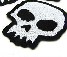 New good quality Embroidered Applique Iron On Sew On Patch Skull White
