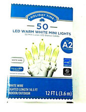 Holiday Time 50 LED Mini Christmas Warm White String lights White Wire