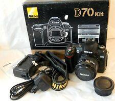 Nikon D70 + AF Nikkor 35-70mm f3.3-4.5 + mains Charger +Mem + Remote + strap box