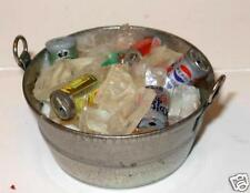 METAL PAN WITH SODA & BEER CANS  DOLLHOUSE MINIATURES