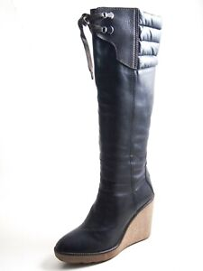 Moncler Wedge Knee High Boots Black Leather Women Size US 8.5 EU 39