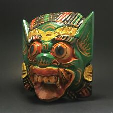 Balinese Indonesia Demon Barong Singh Wood Carved Mask Wall Hanging Home Decor