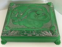 Vintage 1940's Cruver Plastic Celluloid Dragon Card Box Inserts Jewelry Trinkets