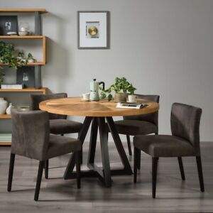 Bentley Designs Chevron Rustic Oak Round Dining Table + 4 Fabric Chairs