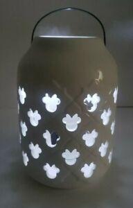 """Disney Minnie Mouse White Ceramic Lantern Garden Lantern Handle 7"""" NEW"""