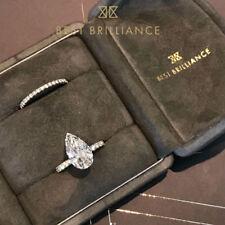18K White Gold Diamond Engagement Wedding Ring Set 2.5 Carat Pear Shaped F VS2