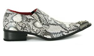 Mens Shoes Black and White Faux Snakeskin Snake Pattern,Metal Pointed Toe Formal