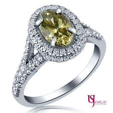 1.79ct Fancy Dark Yellowish Brown Oval Shaped Diamond Engagement Ring 18k Gold