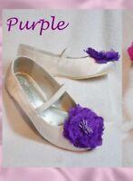 BNWT & Box BHS Girls Infant 4 7 EUR 20 BHS IVORY Satin PURPLE Flower Shoes