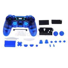 Ersatz Voll Shell Mod Kit Gehäuse Case für PS4 Controller Klar Blau
