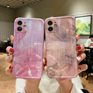 For iPhone 12 Pro Max Marble Clear Case Bling laser TPU Shockproof Slim Cover