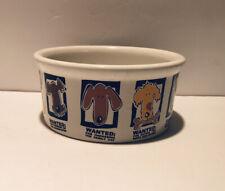 MUG SHOTS / DOG Riviera Van Beers Signature Stoneware WANTED Dog Bowl 7.5 x 3 In