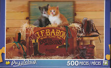 NEW Puzzlebug 500 Piece Puzzle - Two Kittens Sitting in Shoe Box - FREE SHIPPING