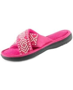 MSRP $28 Isotoner Signature Embroidered Anita X-Band Slides Dark Pink Size Med