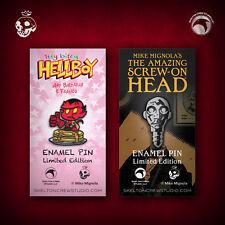 Hellboy/B.P.R.D: itty bitty Hellboy & The Amazing Screw-On Head pin set!