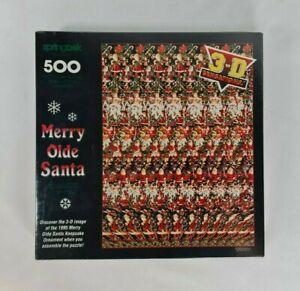 New - Vintage 1990's Merry Olde Santa Jigsaw Puzzle 3-D Sensations 500 Pieces