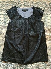 Cynthia Steffe laser cut black silk blouse with zipper accent size small