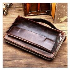 Vintage Mens Real Cow Leather Clutch Wrist Handbag Zipper Briefcase Handy Wallet