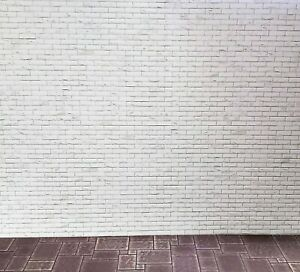 Dollhouse Miniature White Brick Weathered Aged Embossed Card 1:12 Scale