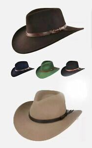 Crushable Cowboy Hat 100% Wool Stetson Western Style Outback Fedora 8cm Brim UK