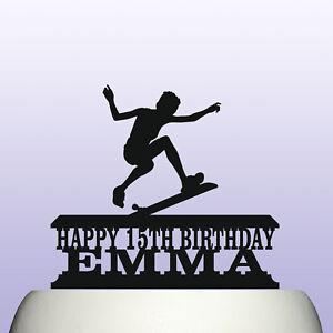 Personalised Acrylic Girl Skateboarding Birthday Cake Topper Decoration