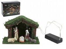 LED Light Up Nativity Christmas Display Set/Scene With Stable 5 Porcelain Figure