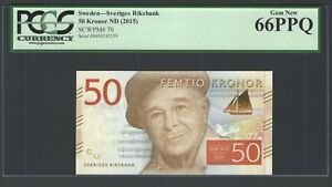Sweden 50 Kronor ND(2015) P70 Uncirculated Graded 66