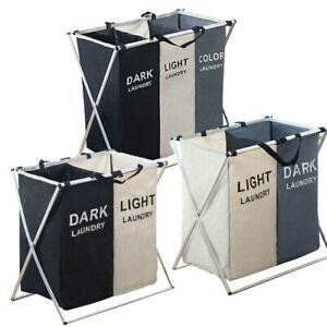 Light and Dark Fabric Laundry Hamper, Foldable Clothes Bag, Washing Bin Basket