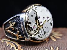 Turkish Special Jewelry 925 Sterling Silver CLOCK Men's Ring Sz 12 free resize