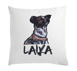 Rough Painted Laika First Space Dog White Pillow Case Cushion Cover 40 cm