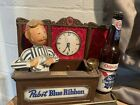 Pabst blue ribbon bartender W/ Working Clock And Light