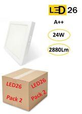 Pack 2 Plafones techo LED DownLight 24W panel superficie cuadrado 28,5cm blanco