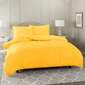 Duvet Cover Set Soft Brushed Comforter Cover W/Pillow Sham, Yellow - Queen
