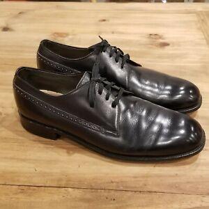 Vintage Footjoy Dress Shoe Size 10 C Brogue Plain Toe Black Mens Made USA