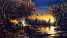 "Terry Redlin ""Evening Solitude"" Camping Print  18"" x 10.5"""